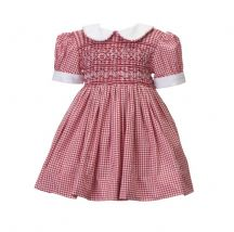 Baby red gingham hand smocked dress